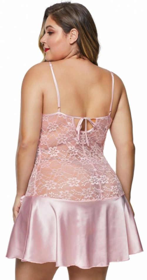 Rózsaszín plus size csipke és szatén ing
