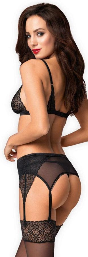 Fekete csipke erotikus szett Obsessive Shibu - tanga, melltartó és harisnyakötő öv
