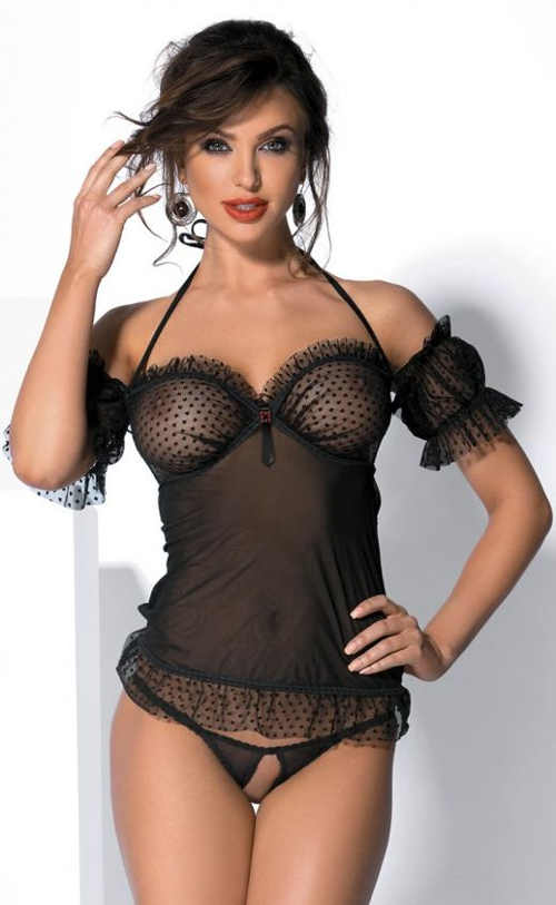 Szexi női szett fekete áttetsző camisole és nyitott bugyi