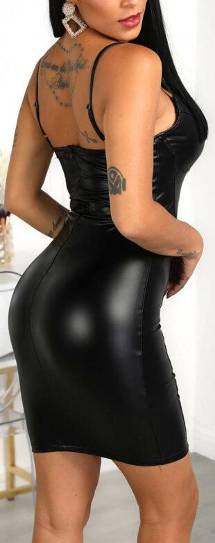 Fekete műbőr miniruha