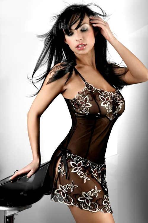 Luxus szexi alsóing virágos szegéllyel és hasítékkal